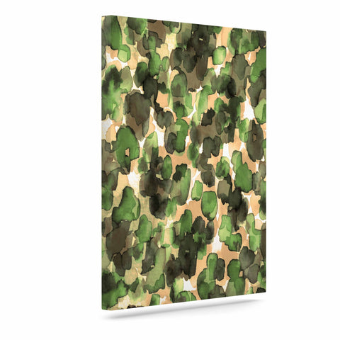 "Ebi Emporium ""WILD THING, CAMO GREEN"" Green Olive Animal Print Abstract Watercolor Mixed Media Art Canvas"