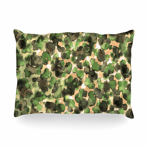 "Ebi Emporium ""WILD THING, CAMO GREEN"" Green Olive Animal Print Abstract Watercolor Mixed Media Oblong Pillow"