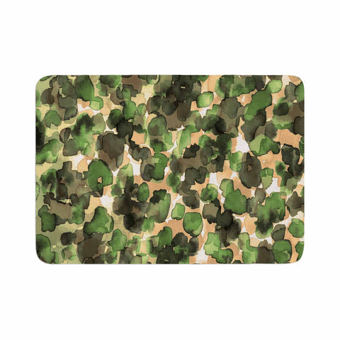 "Ebi Emporium ""WILD THING, CAMO GREEN"" Green Olive Animal Print Abstract Watercolor Mixed Media Memory Foam Bath Mat"