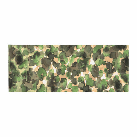 "Ebi Emporium ""WILD THING, CAMO GREEN"" Green Olive Animal Print Abstract Watercolor Mixed Media Bed Runner"