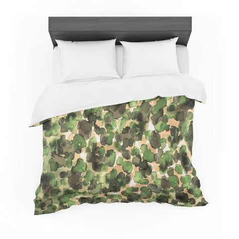 "Ebi Emporium ""WILD THING, CAMO GREEN"" Green Olive Animal Print Abstract Watercolor Mixed Media Featherweight Duvet Cover"