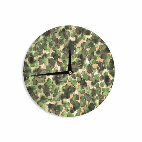 "Ebi Emporium ""WILD THING, CAMO GREEN"" Green Olive Animal Print Abstract Watercolor Mixed Media Wall Clock"