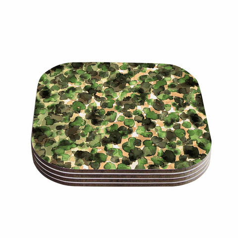"Ebi Emporium ""WILD THING, CAMO GREEN"" Green Olive Animal Print Abstract Watercolor Mixed Media Coasters (Set of 4)"