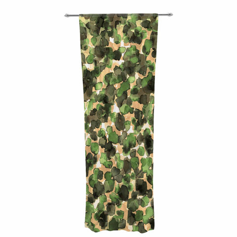 "Ebi Emporium ""WILD THING, CAMO GREEN"" Green Olive Animal Print Abstract Watercolor Mixed Media Decorative Sheer Curtain"