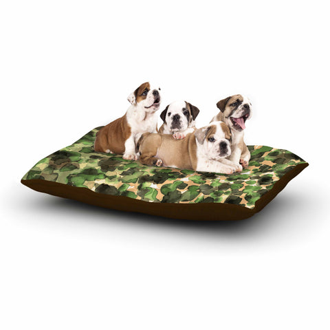 "Ebi Emporium ""WILD THING, CAMO GREEN"" Green Olive Animal Print Abstract Watercolor Mixed Media Dog Bed"