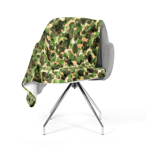 "Ebi Emporium ""WILD THING, CAMO GREEN"" Green Olive Animal Print Abstract Watercolor Mixed Media Fleece Throw Blanket"