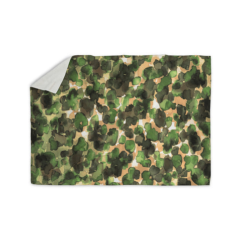 "Ebi Emporium ""WILD THING, CAMO GREEN"" Green Olive Animal Print Abstract Watercolor Mixed Media Sherpa Blanket"