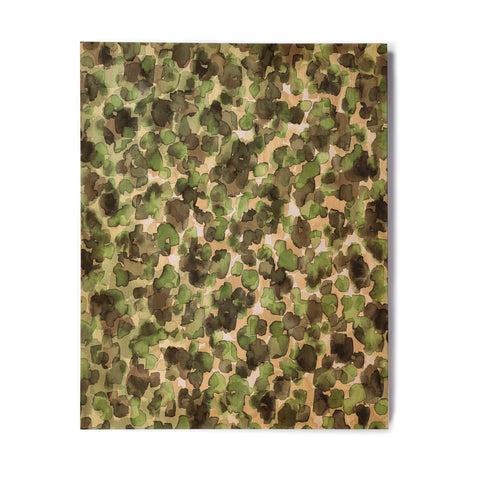 "Ebi Emporium ""WILD THING, CAMO GREEN"" Green Olive Animal Print Abstract Watercolor Mixed Media Birchwood Wall Art"