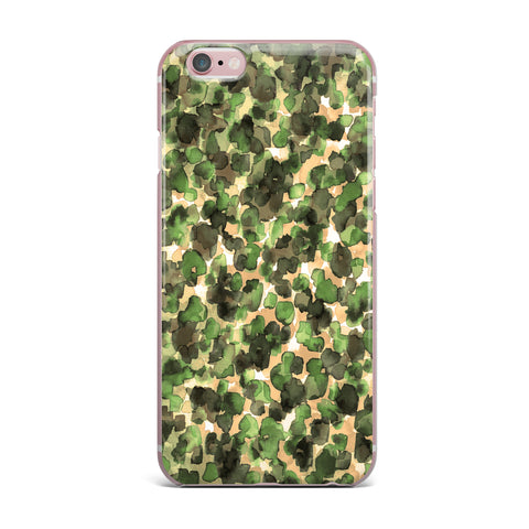 "Ebi Emporium ""WILD THING, CAMO GREEN"" Green Olive Animal Print Abstract Watercolor Mixed Media iPhone Case"