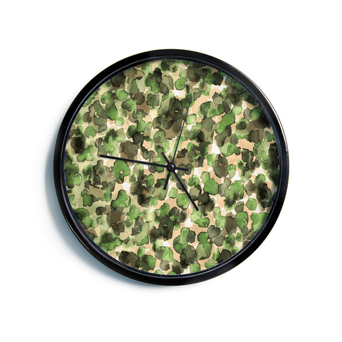 "Ebi Emporium ""WILD THING, CAMO GREEN"" Green Olive Animal Print Abstract Watercolor Mixed Media Modern Wall Clock"