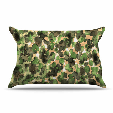 "Ebi Emporium ""WILD THING, CAMO GREEN"" Green Olive Animal Print Abstract Watercolor Mixed Media Pillow Sham"