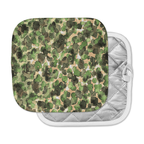 "Ebi Emporium ""WILD THING, CAMO GREEN"" Green Olive Animal Print Abstract Watercolor Mixed Media Pot Holder"