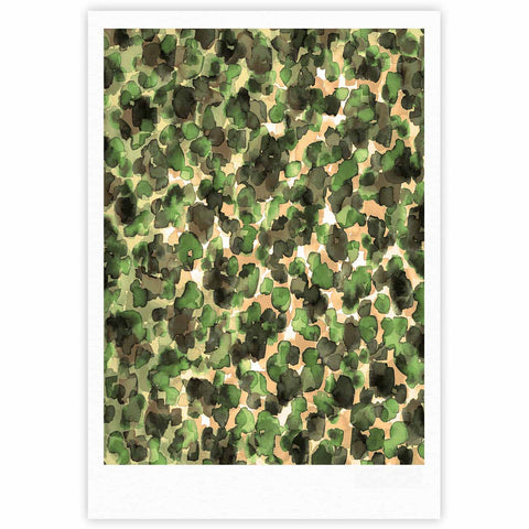 "Ebi Emporium ""WILD THING, CAMO GREEN"" Green Olive Animal Print Abstract Watercolor Mixed Media Fine Art Gallery Print"