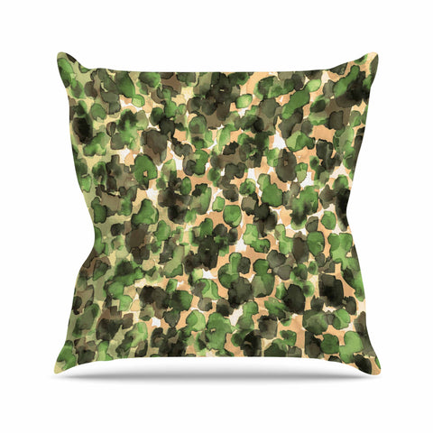 "Ebi Emporium ""WILD THING, CAMO GREEN"" Green Olive Animal Print Abstract Watercolor Mixed Media Outdoor Throw Pillow"