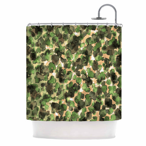 "Ebi Emporium ""WILD THING, CAMO GREEN"" Green Olive Animal Print Abstract Watercolor Mixed Media Shower Curtain"