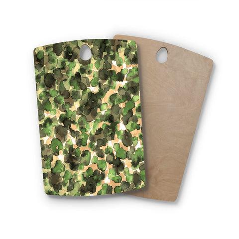 "Ebi Emporium ""WILD THING, CAMO GREEN"" Green Olive Animal Print Abstract Watercolor Mixed Media Rectangle Wooden Cutting Board"