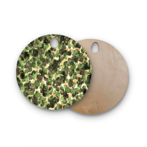 "Ebi Emporium ""WILD THING, CAMO GREEN"" Green Olive Animal Print Abstract Watercolor Mixed Media Round Wooden Cutting Board"