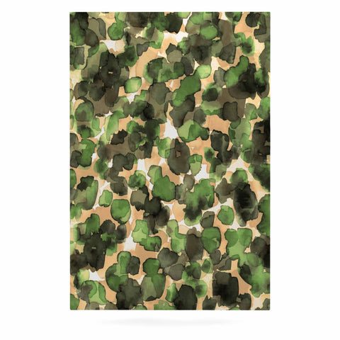 "Ebi Emporium ""WILD THING, CAMO GREEN"" Green Olive Animal Print Abstract Watercolor Mixed Media Luxe Rectangle Panel"
