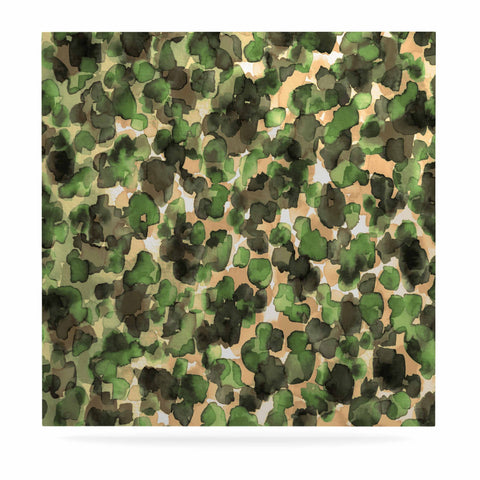 "Ebi Emporium ""WILD THING, CAMO GREEN"" Green Olive Animal Print Abstract Watercolor Mixed Media Luxe Square Panel"