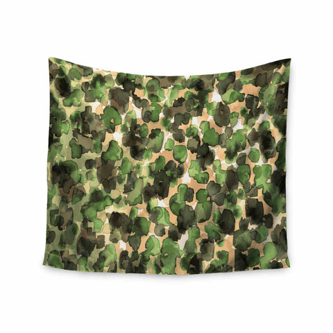 "Ebi Emporium ""WILD THING, CAMO GREEN"" Green Olive Animal Print Abstract Watercolor Mixed Media Wall Tapestry"