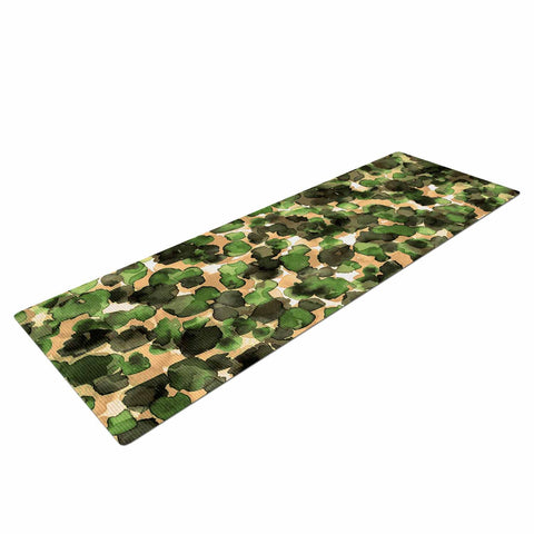 "Ebi Emporium ""WILD THING, CAMO GREEN"" Green Olive Animal Print Abstract Watercolor Mixed Media Yoga Mat"