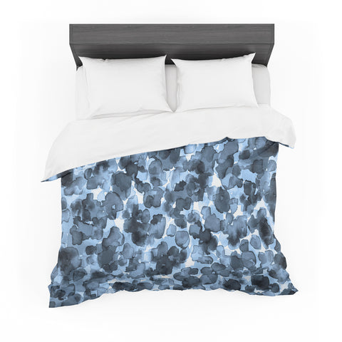 "Ebi Emporium ""WILD THING, BLUE GRAY"" Blue Gray Animal Print Abstract Watercolor Mixed Media Featherweight Duvet Cover"