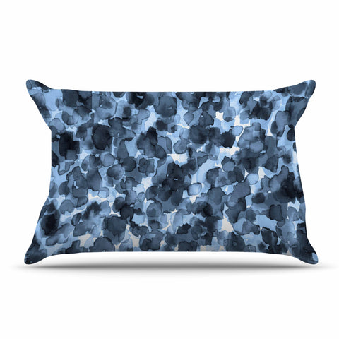 "Ebi Emporium ""WILD THING, BLUE GRAY"" Blue Gray Animal Print Abstract Watercolor Mixed Media Pillow Sham"
