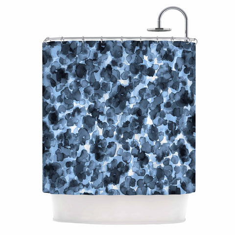 "Ebi Emporium ""WILD THING, BLUE GRAY"" Blue Gray Animal Print Abstract Watercolor Mixed Media Shower Curtain"