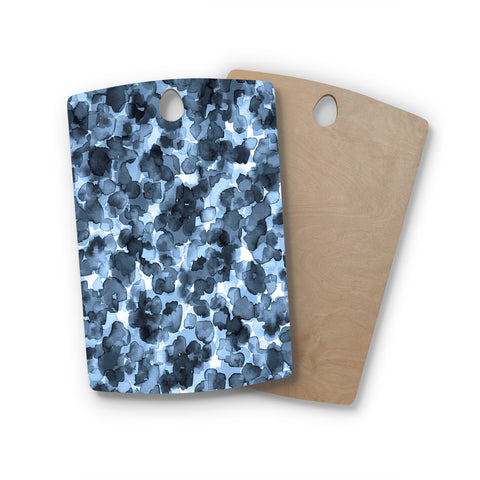 "Ebi Emporium ""WILD THING, BLUE GRAY"" Blue Gray Animal Print Abstract Watercolor Mixed Media Rectangle Wooden Cutting Board"