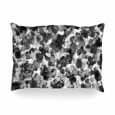 "Ebi Emporium ""WILD THING, GRAYSCALE"" Gray Black Animal Print Abstract Watercolor Mixed Media Oblong Pillow"