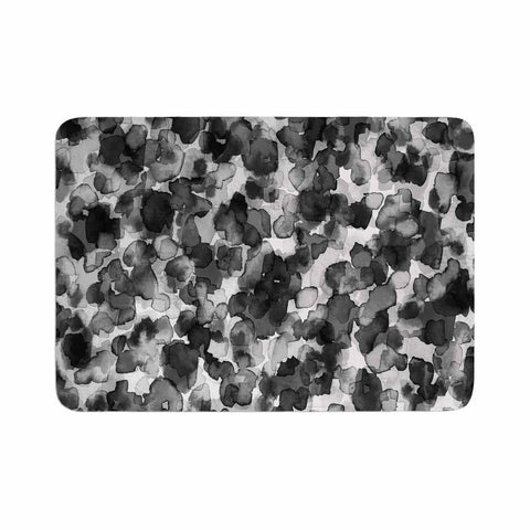 "Ebi Emporium ""WILD THING, GRAYSCALE"" Gray Black Animal Print Abstract Watercolor Mixed Media Memory Foam Bath Mat"