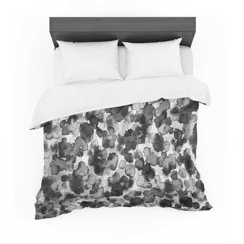 "Ebi Emporium ""WILD THING, GRAYSCALE"" Gray Black Animal Print Abstract Watercolor Mixed Media Featherweight Duvet Cover"