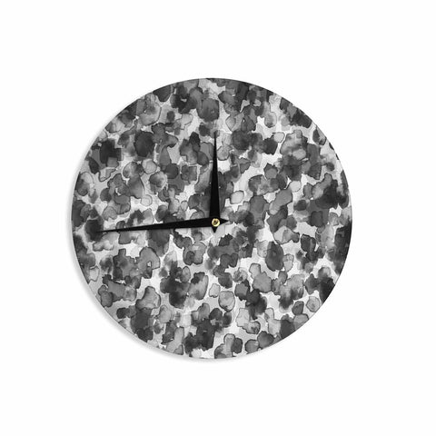 "Ebi Emporium ""WILD THING, GRAYSCALE"" Gray Black Animal Print Abstract Watercolor Mixed Media Wall Clock"