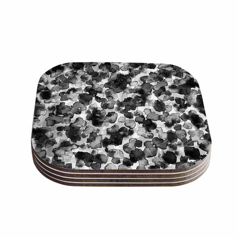 "Ebi Emporium ""WILD THING, GRAYSCALE"" Gray Black Animal Print Abstract Watercolor Mixed Media Coasters (Set of 4)"