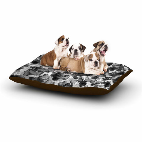 "Ebi Emporium ""WILD THING, GRAYSCALE"" Gray Black Animal Print Abstract Watercolor Mixed Media Dog Bed"