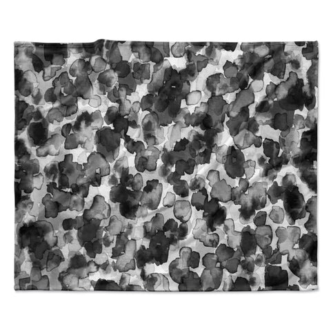 "Ebi Emporium ""WILD THING, GRAYSCALE"" Gray Black Animal Print Abstract Watercolor Mixed Media Fleece Throw Blanket"