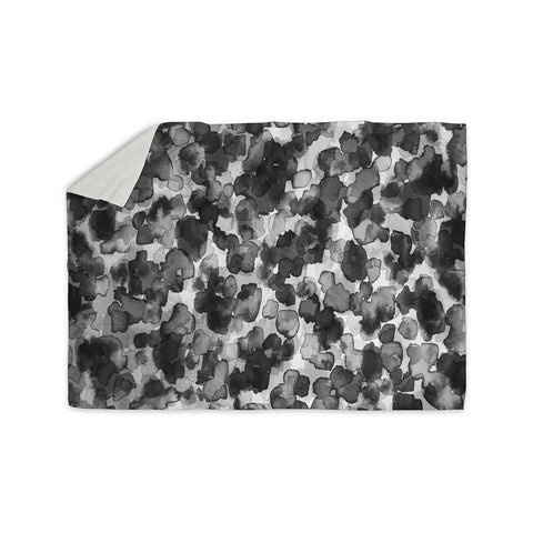 "Ebi Emporium ""WILD THING, GRAYSCALE"" Gray Black Animal Print Abstract Watercolor Mixed Media Sherpa Blanket"