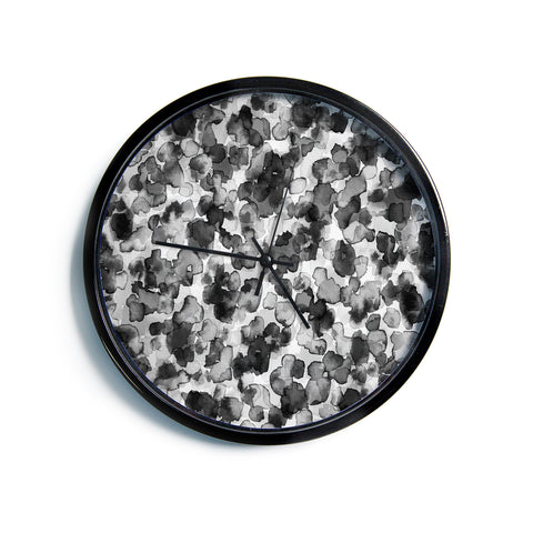 "Ebi Emporium ""WILD THING, GRAYSCALE"" Gray Black Animal Print Abstract Watercolor Mixed Media Modern Wall Clock"