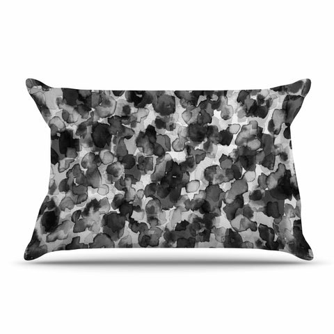 "Ebi Emporium ""WILD THING, GRAYSCALE"" Gray Black Animal Print Abstract Watercolor Mixed Media Pillow Sham"