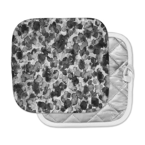 "Ebi Emporium ""WILD THING, GRAYSCALE"" Gray Black Animal Print Abstract Watercolor Mixed Media Pot Holder"