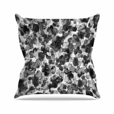 "Ebi Emporium ""WILD THING, GRAYSCALE"" Gray Black Animal Print Abstract Watercolor Mixed Media Outdoor Throw Pillow"