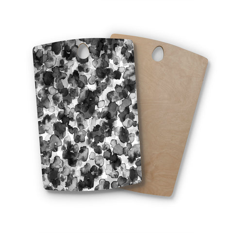 "Ebi Emporium ""WILD THING, GRAYSCALE"" Gray Black Animal Print Abstract Watercolor Mixed Media Rectangle Wooden Cutting Board"