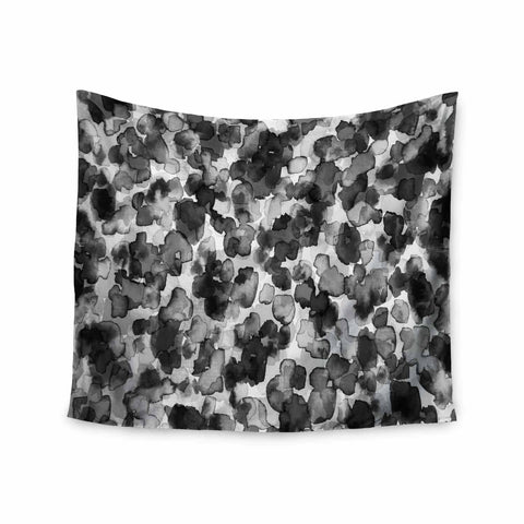 "Ebi Emporium ""WILD THING, GRAYSCALE"" Gray Black Animal Print Abstract Watercolor Mixed Media Wall Tapestry"