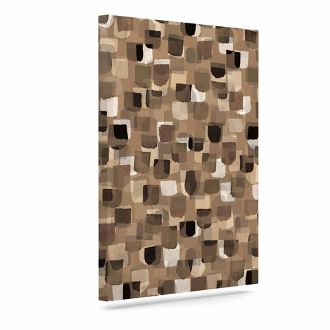 "Ebi Emporium ""SEEING SPOTS 11"" Brown Tan Polkadot Pattern Watercolor Mixed Media Art Canvas"