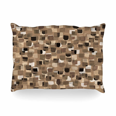 "Ebi Emporium ""SEEING SPOTS 11"" Brown Tan Polkadot Pattern Watercolor Mixed Media Oblong Pillow"