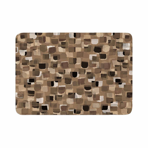 "Ebi Emporium ""SEEING SPOTS 11"" Brown Tan Polkadot Pattern Watercolor Mixed Media Memory Foam Bath Mat"