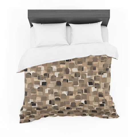 "Ebi Emporium ""SEEING SPOTS 11"" Brown Tan Polkadot Pattern Watercolor Mixed Media Featherweight Duvet Cover"