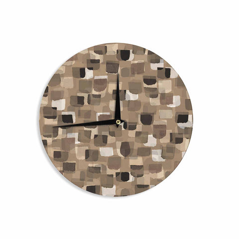 "Ebi Emporium ""SEEING SPOTS 11"" Brown Tan Polkadot Pattern Watercolor Mixed Media Wall Clock"
