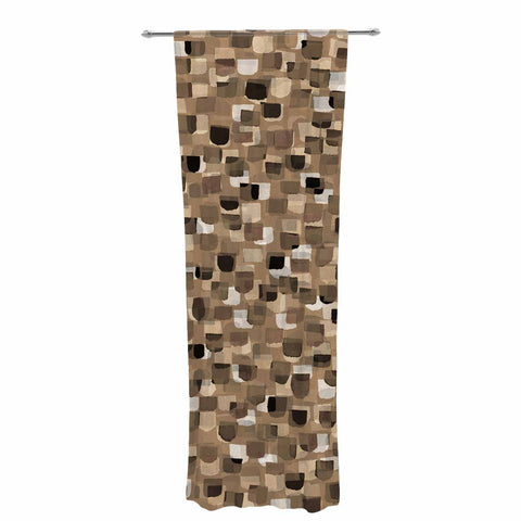 "Ebi Emporium ""SEEING SPOTS 11"" Brown Tan Polkadot Pattern Watercolor Mixed Media Decorative Sheer Curtain"