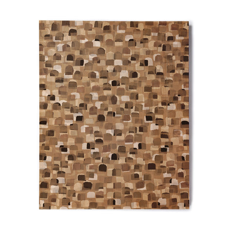 "Ebi Emporium ""SEEING SPOTS 11"" Brown Tan Polkadot Pattern Watercolor Mixed Media Birchwood Wall Art"